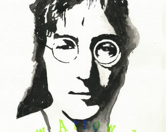 "John Lennon 8-12"" x 11"" Watercolor Print"