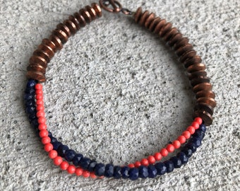 Sapphire & Coral beaded twist bracelet - copper discs - coral beads - coral reef - blue and orange - toggle bracelet - beaded bracelet