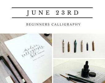 Calligraphy 101 Class, Beginner JUNE 23 Hand Lettering Atlanta Area Workshop, In Person Beginner Calligraphy Class and Hand Lettering Kit