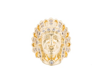 2pcs Gold Indian Chief Head, Native American, Indian Headdress, Concho Cubic Zirconia Bracelet Charm Bead Connector for Jewelry Making