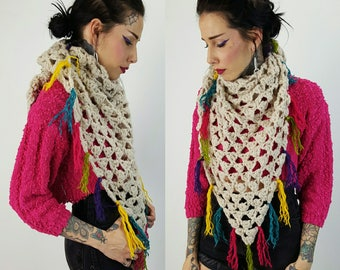 Handmade Chunky Stitch Crochet Shawl - Large Hand Knit Wrap Scarf With Multicolor Fringe - Bright Colorful Handknit Statement Warmer Fall
