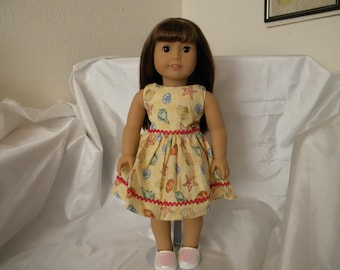 "doll (18"") Dress with seashells and red rick rack"