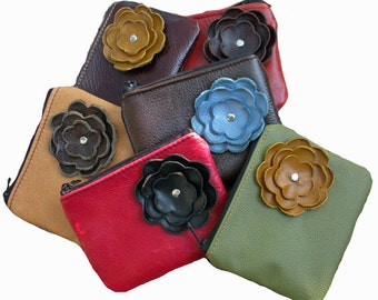 DESIGN Your OWN CUSTOM  Leather Zipper Coin Pouch Small Purse with  Flower Poppy