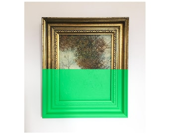 Lime Green Forest Dipped Wall Art Framed