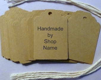 """Custom Scalloped Top Kraft Tags 1.5""""x 2.25"""" with twine ties . personalized large product or gift tags . craft supplies . handmade by labels"""