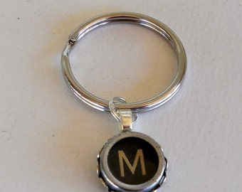 Vintage Typewriter Key Key-Ring Key Chain -  Custom Made with your Letter Personalize Initial