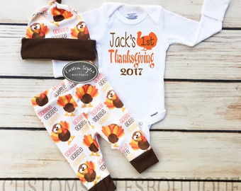 Baby Boys First Thanksgiving Outfit Custom Name Brown Infant