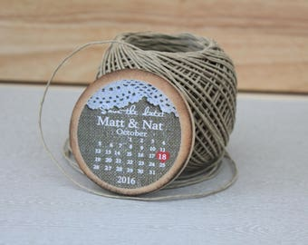 save the date magnet wooden  burlap and lace