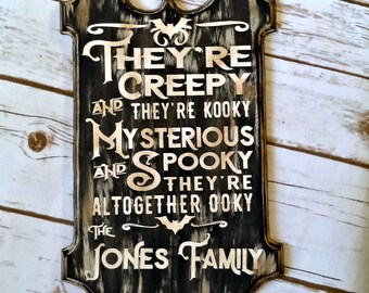 Halloween Decor, Fall Decorations, Personalized Halloween, Addams Family Sign Personalized, Gothic Decor, Black home Decor, Bat Decor