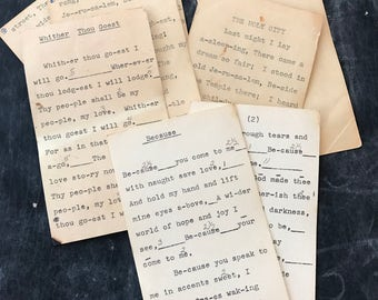Set of 4 Vintage Typed Notecards Index Cards for Church Choir