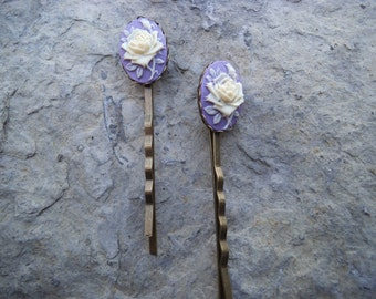 Gorgeous  Pair of Rose Cameo Bobby Pins, Hair Clips, Hair Accessories, Weddings, Matching Jewelry