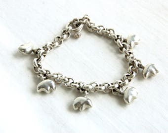 Bear Fetish Bracelet Vintage Mexican Sterling Silver Chain Link Toggle Southwestern Jewelry Spirit Animal