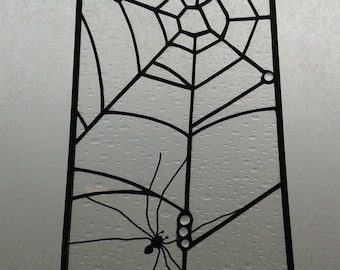 Spider in a web - Stained glass panel