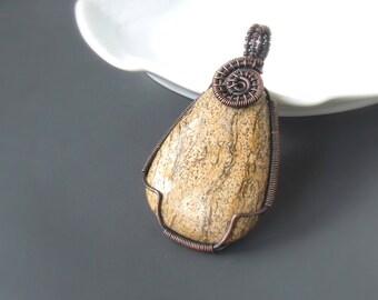 Brown jasper pendant, picture jasper stone copper necklace, handmade women holiday gift jewelry