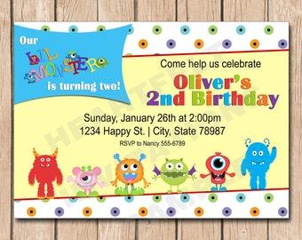 Little Monster Birthday Invitation - 1.00 each printed
