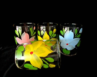 Vintage Juice Glasses, Set of 4, Hand Painted Flowers