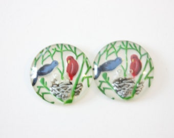 Two Vintage Painted Back Buttons with bird and nest design
