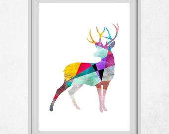Deer Decor, Deer Wall Art, Deer Print, Deer Prints, Printable Deer, Geometric Art, Deer Nursery, Home Decor, Nursery Wall Art, Kids Prints