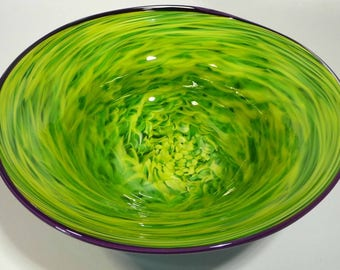 "14"" Hand Blown Glass Bowl - Original Design by Dirwood Glass - Shades of Green, Lemon Yellow and Aquamarine with Purple Lip Wrap"