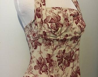 Vintage Inspired 40s 50s Floral Halter Dress