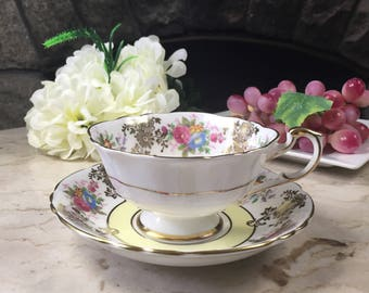Paragon Tea Cup, Vintage Tea Cup and Saucer, Fine Bone China Teacup, Made in England, Paragon Vintage White Teacup and Saucer