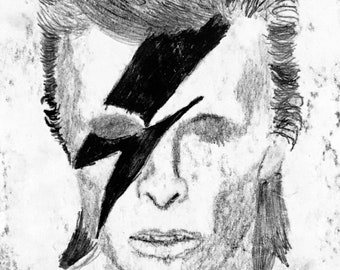 David Bowie Aladdin sane monoprint David Bowie David Bowie fans David Bowie Art Monoprint Aladdin Sane