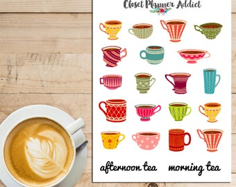 Cute Teacups Planner Stickers | Morning Tea | Afternoon Tea | Teatime (S-033)