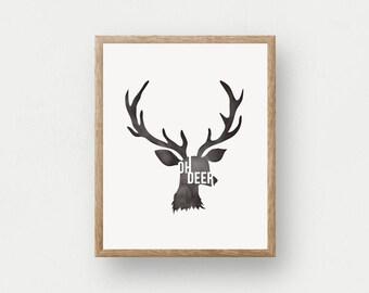 Oh Deer | Black and White Art Print, Nursery Decor, Children's Decor, Deer Head Art, Antler Art, Rustic Wall Art, Country Art Print, Nature