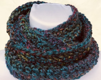 Colorful Infinity Scarf, cowl, loop scarf, circle scarf, eternity scarf, crochet infinity scarf, knit cowl