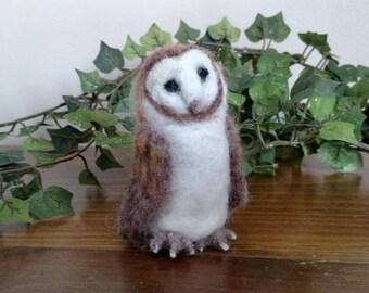 Felted barn owl, felted  owl, wool owl