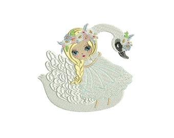 Machine Embroidery Whimsical SwanGirl Machine Embroidery File design 5x7 hoop