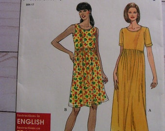 Empire Waist LS or Sleeveless Knit Dress | Misses XS | Simplicity 8190 | cut used complete vintage sewing pattern