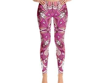 Andromeda Womens Pink Leggings, Yoga Pants, festival leggings, Womens Leggings, Boho Print Leggings, Bohemian  Printed Leggings