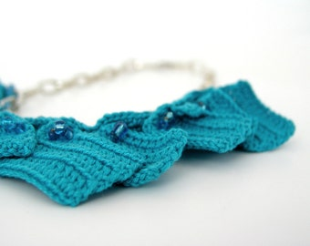 Geometric necklace turquoise cotton crochet squares with metal chain and beads