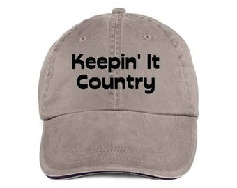 KEEPIN' IT COUNTRY Baseball Style Cap Hat Vinyl Print