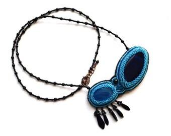 Blue bead embroidered large pendant necklace Ocean blue agates statement pendant Unique double blue stone necklace Bold women agate necklace