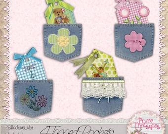 4 Pockets with Tags in them Embellishments