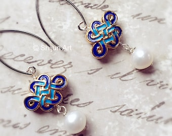 Artistic enamel & pearl earrings, Chinese knot design, gold and Prussian blue color, eastern pearl earrings,  Artisan Jewelry