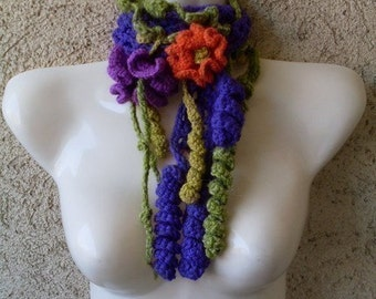 Pattern  02  Crochet Freeform Scarf Fashion Accessory - Corkscrew Stitch - Necklace - Scarflette - Collar INSTANT DOWNLOAD