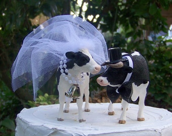 Cow Cake Topper-Farm-Holstein Cow-Barn Wedding Cake Topper-Farmer Boy and Girl-Cow Bride and Groom