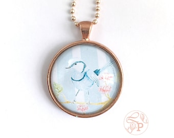 Bluebird pendant necklace / Superb Fairy Wren rose gold Pendant / rose gold jewellery / bluebird jewellery / shabby chic jewelry / pale blue