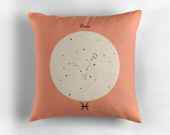 PISCES Astrological Constellation Throw Pillow, Minimalist Zodiac Art, Home Decor