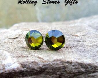 Olivine 7.27mm Swarovski Flat back Rhinestone Stud Earrings-olive Green Crystal Studs-Flat Back Crystal Studs-Stocking Stuffers