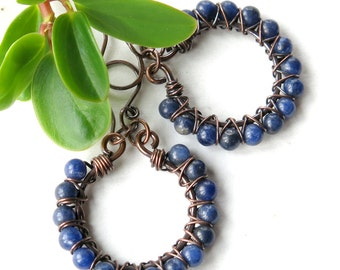 Beaded blue earrings - copper wire wrapped hoops stone beads