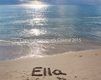 Name in Sand, Baby Girl Gift, Personalized Artwork, Beach, Nursery Decor - Ella