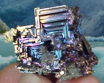 Rainbow Geometric Bismuth Crystal Mineral Specimen Excellent for Instilling Group Cohesiveness 005