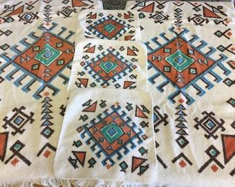Vintage Cannon Southwest Aztec Pattern Towels- Two Bath, Three Washcloths- Aztec towels, Southwest bath towel, Cannon bath towels, western