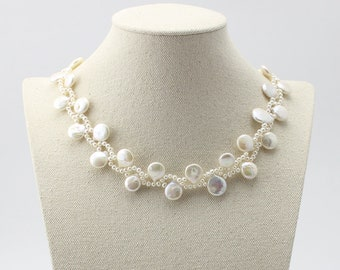 Bridal Freshwater Pearl  Sterling Silver  Choker Necklace 101531