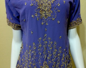 Vintage purple&silver thread embroidered saree blouse boho crop top beaded Indian hippie blouse saree top indian blouse hippie top blouse S