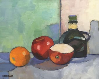 Still Life Oil Painting on Canvas Fruit and Vinegar